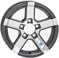12x4 HiSpec Gunmetal Gray Series07 Aluminum Trailer Wheel 5 Lug, 1520 lb Max Load