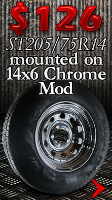 14 inch Chrome Mod with Carlisle ST205/75R14 Trailer Tire Sale