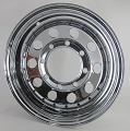 15x6 Chrome Modular Steel Trailer Wheel with Rivets, 8x6.5 Bolt, 2830 lb Capacity