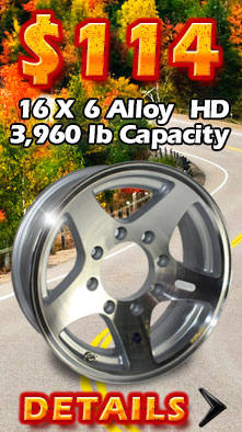 16x6 Hi Spec Aluminum Star Trailer Wheel