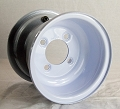 8x7 Solid White Steel OEM Trailer Wheel, 4 on 4 Bolt, 940 lb Max Capacity