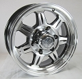 15x6 Aluminum SAWTOOTH Trailer Wheel 6 Lug, 2830 lb Max Load, incl Center Cap