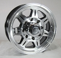 16x6 HD SAWTOOTH Aluminum Trailer Wheel 8 Lug, 3750 Max Load with Center Cap