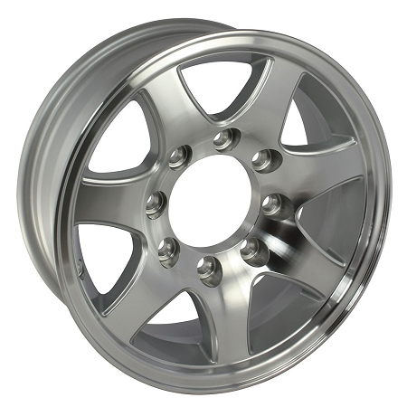 16x6 In T02 Aluminum Trailer Wheel 8 Lug 3750 Lb Max Load