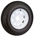 12 x 4 White Steel Spoke 5 Lug Trailer Wheel and Carlisle ST145R12 LR D Radial Tire Assembly