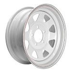 13x4.5 Steel Spoke Trailer Wheel White Painted with Pinstripes, 5 Lug, 1660 Max Load