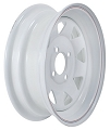 13x4.5 White Painted Steel Spoke Trailer Wheel with Pinstripes 4 Lug, 1,660 lb Max Load