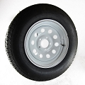 ST205/75R15 Hercules Radial Trailer Tire LRC mounted on 15x6 White Modular 5 Lug Trailer Wheel
