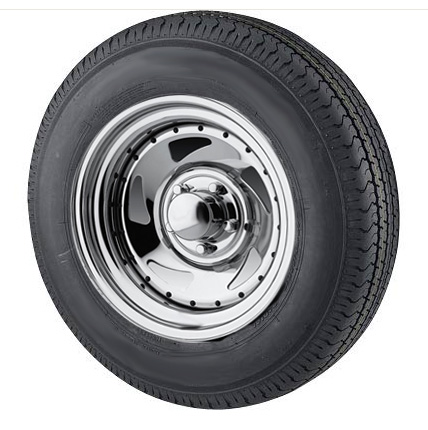 st205 75r15 radial trailer tire with 15 inch 5 bolt chrome blade rim. Black Bedroom Furniture Sets. Home Design Ideas