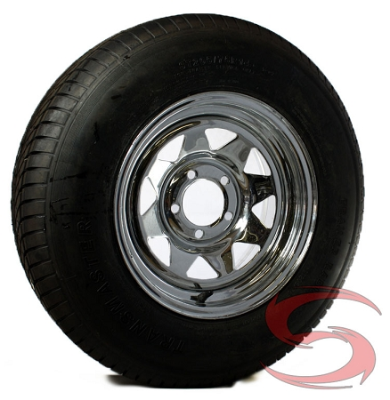 st205 75r15 inch radial trailer tire with chrome spoke trailer rim. Black Bedroom Furniture Sets. Home Design Ideas