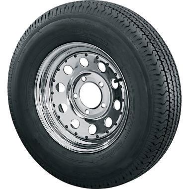 st205 75d14 bias ply trailer tire with 5 bolt chrome modular trailer rim. Black Bedroom Furniture Sets. Home Design Ideas