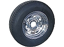 ST205/75D15 Bias Ply Trailer Tire with 15 inch 5 Bolt Chrome Tailgunner (Comet) Rim