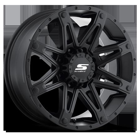 18x9 Recon Sendel S35 Black Aluminum Trailer Wheel Matte