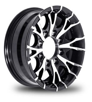 16 X 6 Viper T07 Black Machined Trailer Wheel 8 On 6 50