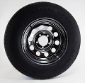 ST205/75R14 Carlisle Radial Trailer Tire LR C mounted on 14x6 Chrome Modular no Rivets Trailer Wheel 5 Lug
