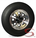 ST225/75R15 LR E/10 HERCULES Radial Trailer Tire & Black Rock Yuma Machined and Matte Black Modular Trailer Rim 6 on 5.50 Mounted