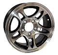 15x6 Inlay Aluminum Bullet T03 Trailer Wheel, 5 Lug, 2150 lb Max Load