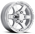 15x6 T08 Silver Machined Lip & Spokes Aluminum Trailer Wheel 6x5.50