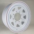 16 x 6 White 8-Spoke Steel Trailer Rim, 8 on 6.50, 3750 lb Load Rating
