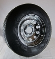 ST205/75R14 Carlisle Radial Trailer Tire LR C mounted on 14x6 Chrome Modular w/rivets Trailer Wheel 5 Lug