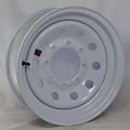 16 x 6 White Painted Steel Modular Trailer Wheel 8 x 6.50 Bolt Pattern 3,750 lb Max Load