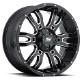 18x9 S34 Sniper Sendel Black  Light Truck SUV Aluminum  Wheel (Gloss Black/Milled), 5x4.50 Lug, 2200 lb Capacity
