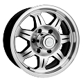 15x6 SAWTOOTH Aluminum Trailer Wheel 5 on 5 Lug, 2150 lb Max Load, Plastic Chrome Center Cap with Plug Included