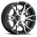 15x6 Viper Black Machined Aluminum T07 Trailer Wheel 6 Lug, 2830 lb Max Load
