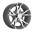 14x5.5 Viper Gray Machined Aluminum T07 Trailer Wheel 5 Lug, 1900 lb Max Load
