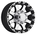 16x6 Black Machined Grinder T08 Trailer Wheel 8 Lug, 3750 lb Max Load