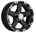 15 x 6 T08 Sendel Trailer Rim Grinder Matt Black Machined Lip, 5 on 4.50 w/ 2,150 lb Capacity