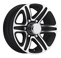 15x6 T09 Trailer Rim Black Machined, 6 Lug, 2830 lb Max Load