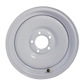 12x4 White Painted Solid Steel Trailer Wheel NO Pinstripe 5 Lug, 1220 lb Max Load
