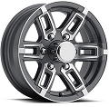 14x5.5 Linkster Gray Machined Aluminum T06 Trailer Wheel 5 Lug, 1900 lb Max Load