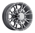 16x6 Gray Machined Viper T07 Trailer Wheel, 8 Lug, 3750 Max Load