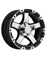 14x5.5 Black/Silver Machined Grinder T08 Trailer Rim 5 Lug, 1900 lb Max Load