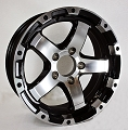 17 x 8 Matt Black and Silver Machined Aluminum Sendel T08 Trailer Wheel, 5 on 4.50, 2200 lb Max Load