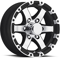 17 x 8 Silver and Matte BlackMachined Aluminum Sendel T08 Trailer Wheel, 6 on 5.50, 2850 lb max load