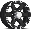 17 x 8  Matte Black with Silver Aluminum Sendel T08 Trailer Wheel, 5 on 4.50, 2200 lb Max Load