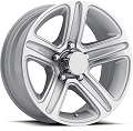 13x5.5 T09 Trailer Rim Silver Machined, 5 Lug, 1660 lb Max Load