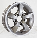 14x5.5 Twisted Star Aluminum Mercedes Silver Painted S02 Trailer Wheel 5 Lug, 1900 lb Max Load