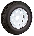 12x4 White Steel Spoke Trailer Wheel & 5.30-12 Tire Package Load Range C