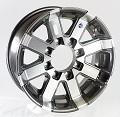 17.5x6.75 Series07 Gunmetal Gray Aluminum HiSpec Trailer Wheel, 8 Lug, Center Cap Incl., 4850 lb Max Load