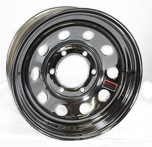 15x6 Steel Chrome Modular Trailer Wheel No Rivets, 6 on 5.50 Bolt, 2,600 lb Max Capacity