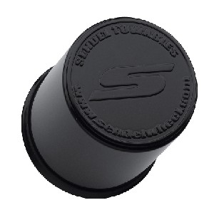 3.195 in Gloss Black Center Cap Plastic, Straight Barrel with Plug