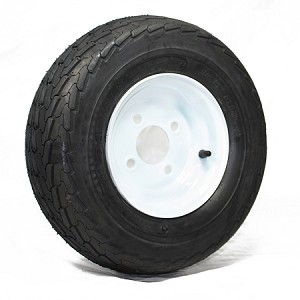 16.5x6.50-8 Towmaster Trailer Tire LR C with 8 x 5.375 Solid White Trailer Wheel 4 on 4