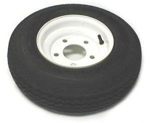 4.80 - 8 Bias Ply Trailer Tire LR C on White Trailer Wheel 5 on 4-1/2 Bolt Pattern