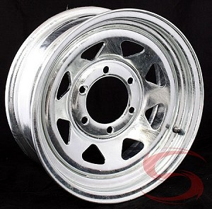 15x6 inch Galvanized Spoke Trailer Rim 6 Lug, 2850 lb Max Load