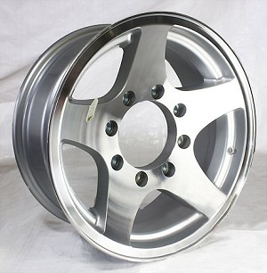16x7 Aluminum Star Hi Spec Trailer Wheel 8 Lug, 3200 lb Max Load
