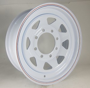 16 x 6 White 8-Spoke Steel Trailer Rim, 8 x 6.50, 4,080 lb Load Rating